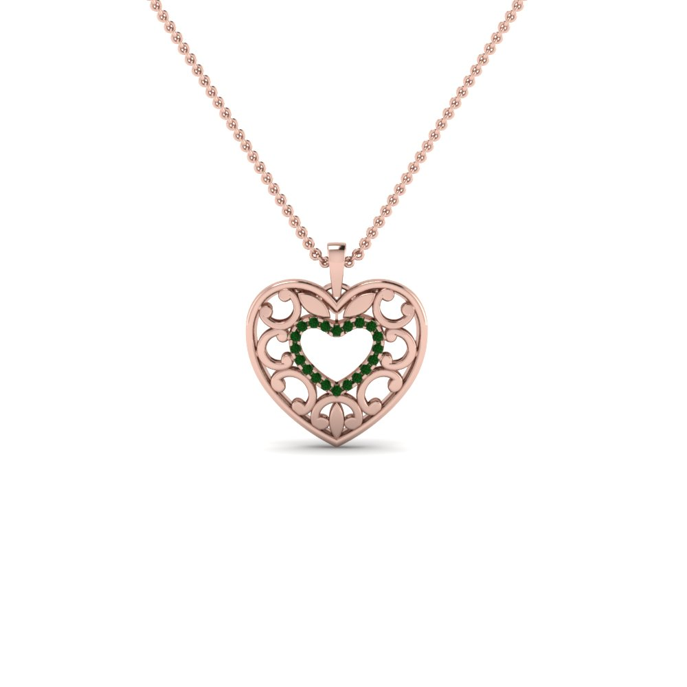 emerald filigree heart pendant in FDPD650068GEMGRANGLE2 NL RG