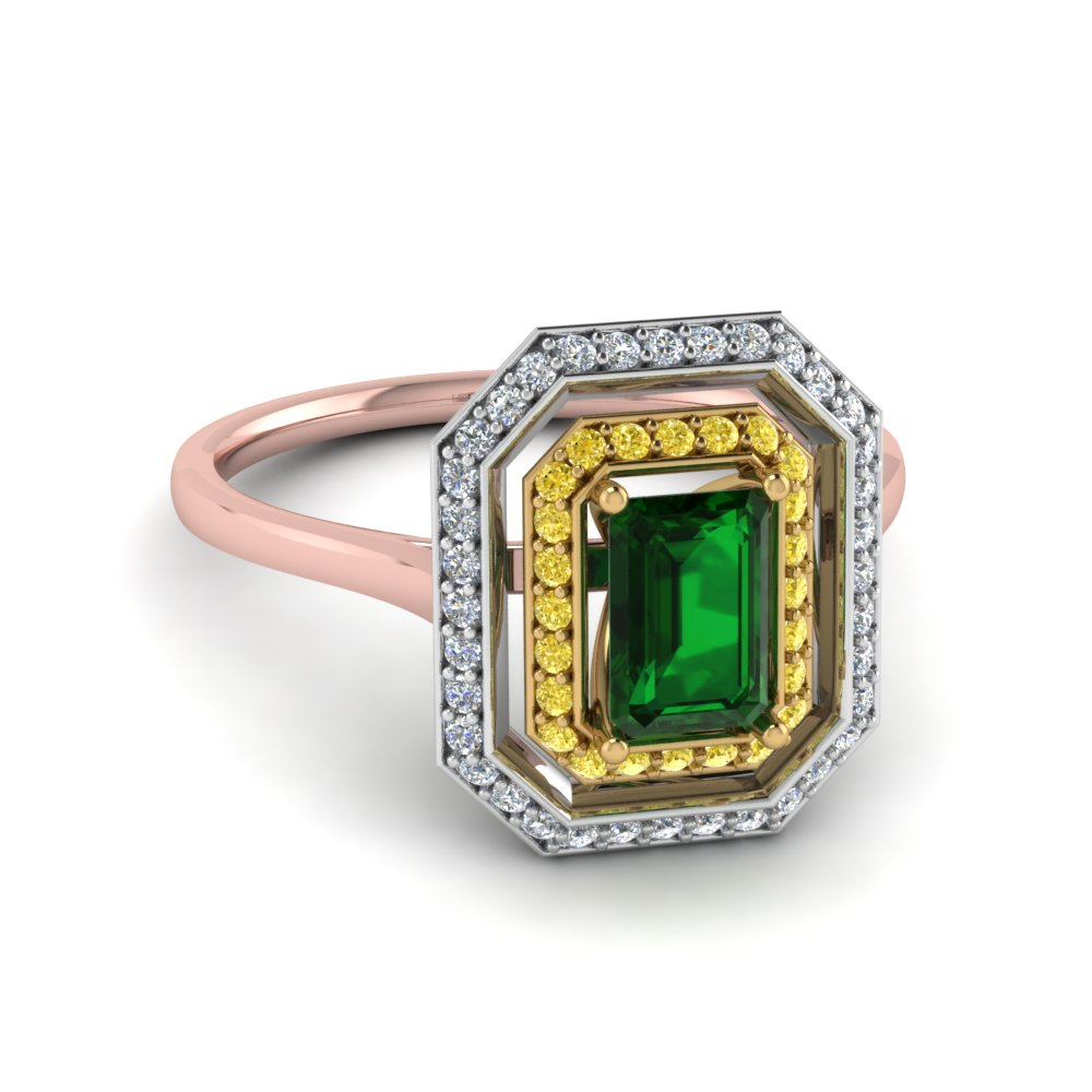 emerald gemstone halo ring for mom in FD121992EMRGEMGR NL RG