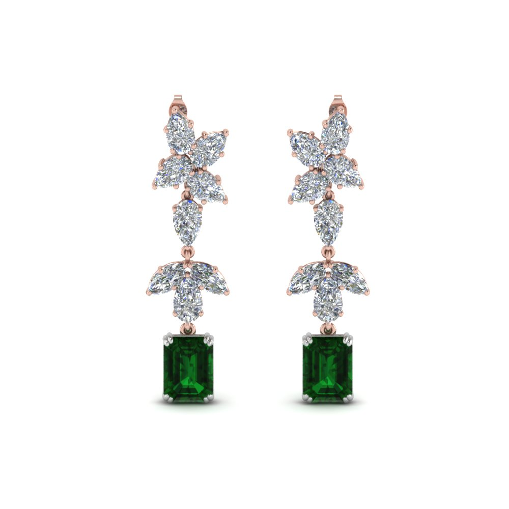 Cluster Emerald Drop Earring