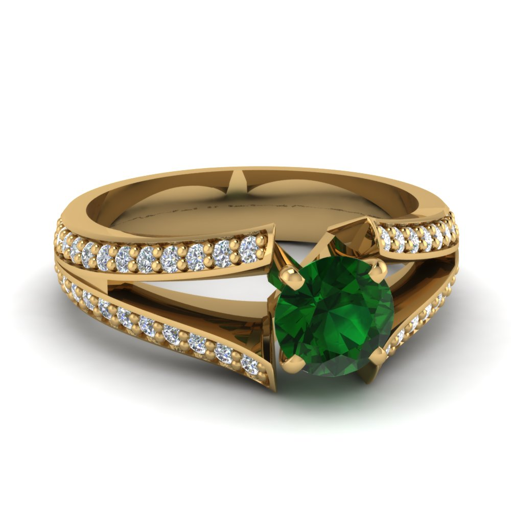 emerald pave split shank engagement ring in 14K yellow gold FDENR2774RORGEM NL YG