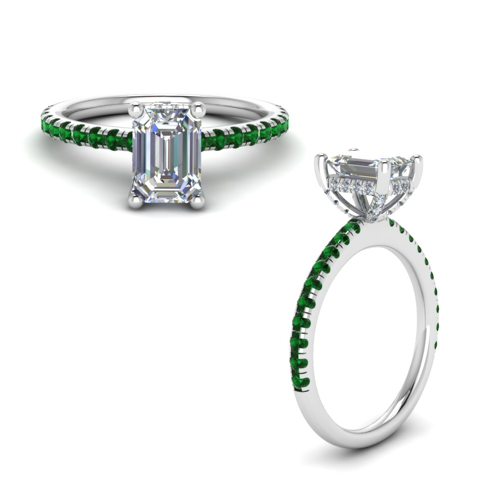 emerald prong diamond petite engagement ring in FD8523EMRGEMGRANGLE1 NL WG GS