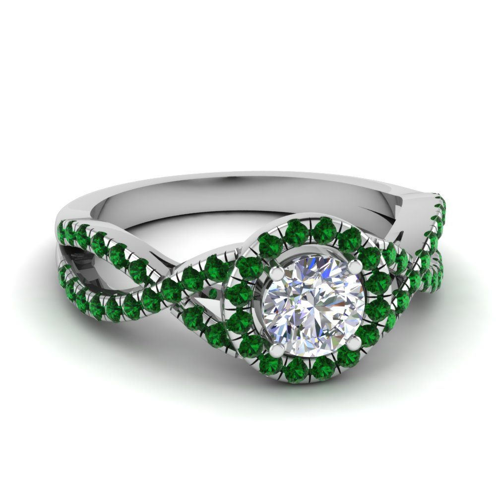 Split Halo Round Diamond Ring