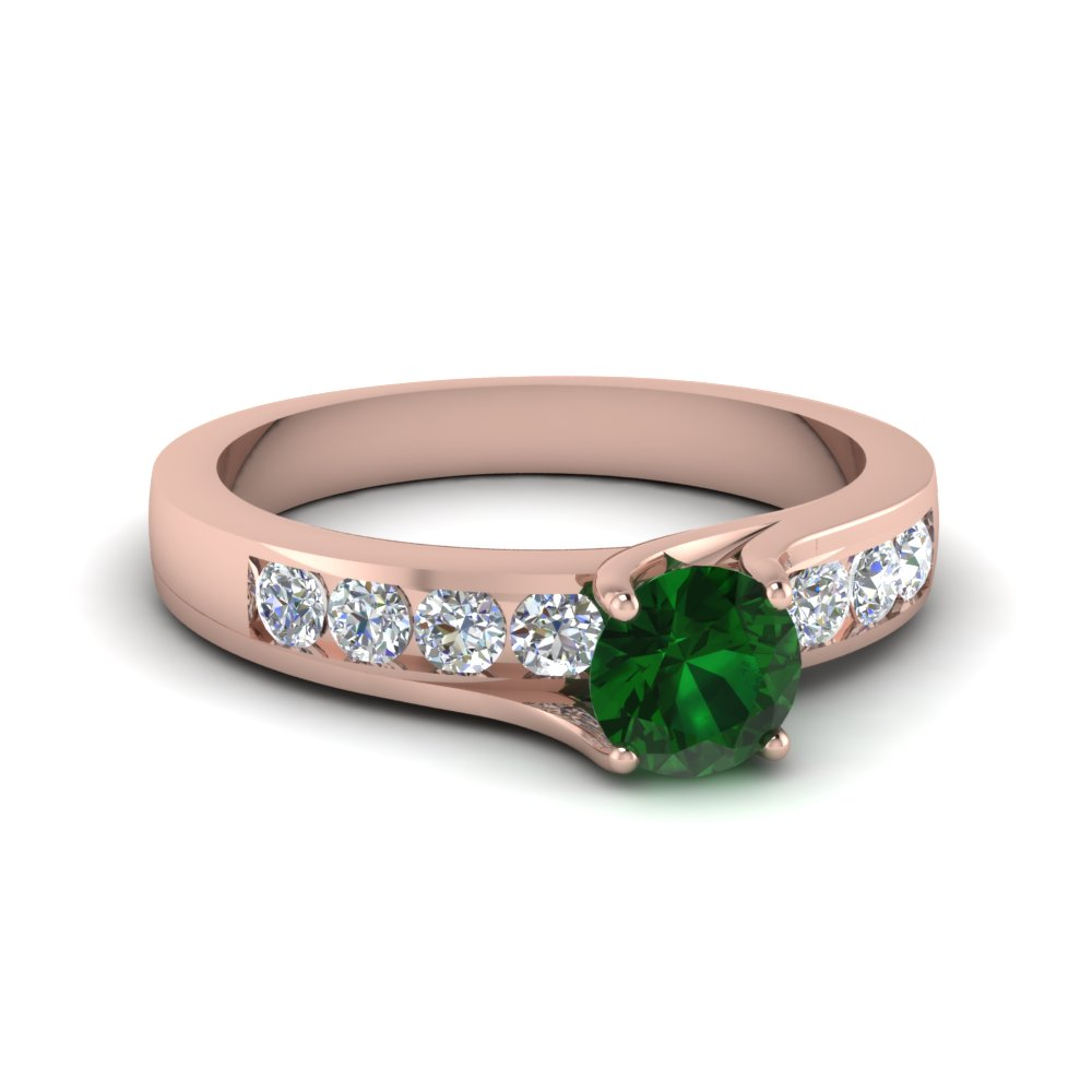 Swirl Prong Emerald Ring