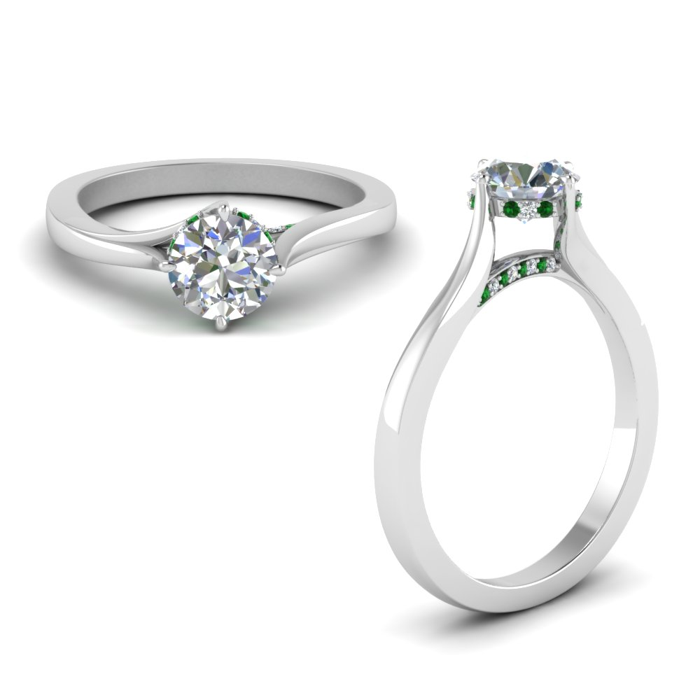 Emerald Swirl Prong Round Diamond Ring In 18K White Gold