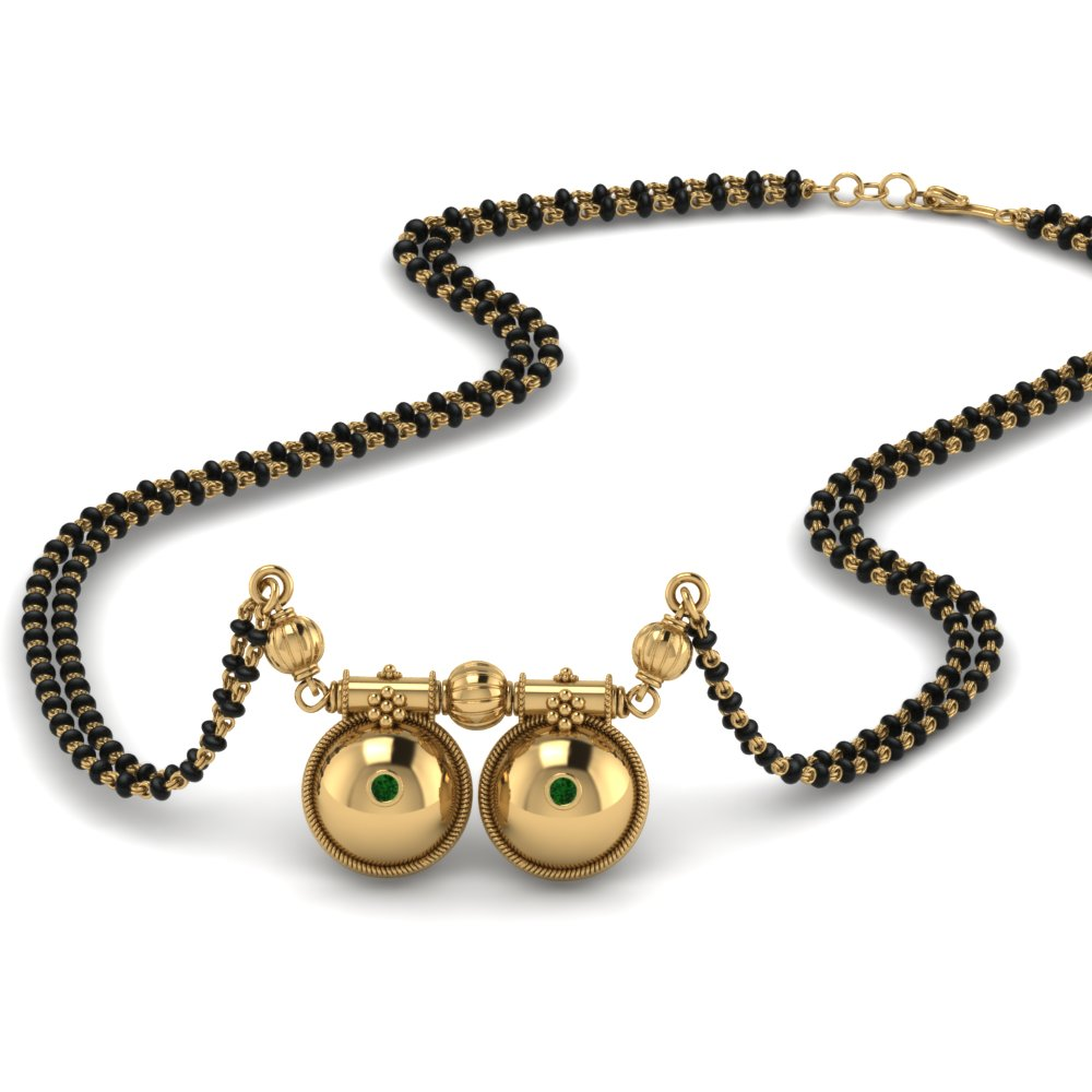 Telugu Gold Mangalsutra With Black Beads