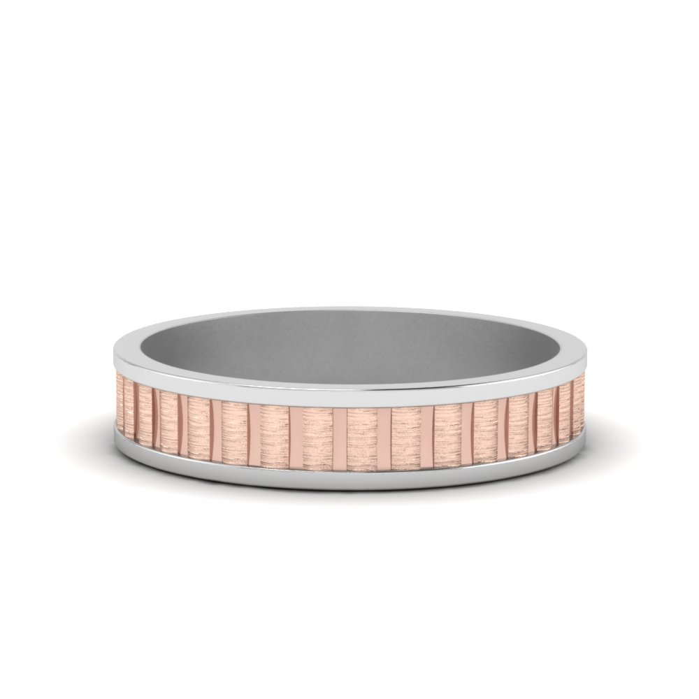engraved brushed 2 tone wedding band in FDM351B NL WG