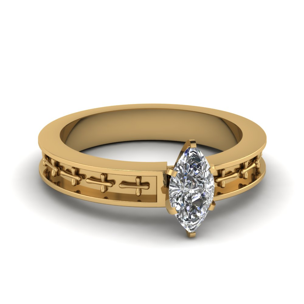engraved cross marquise diamond vintage wedding ring in 14K yellow gold FDENS3632MQR NL YG