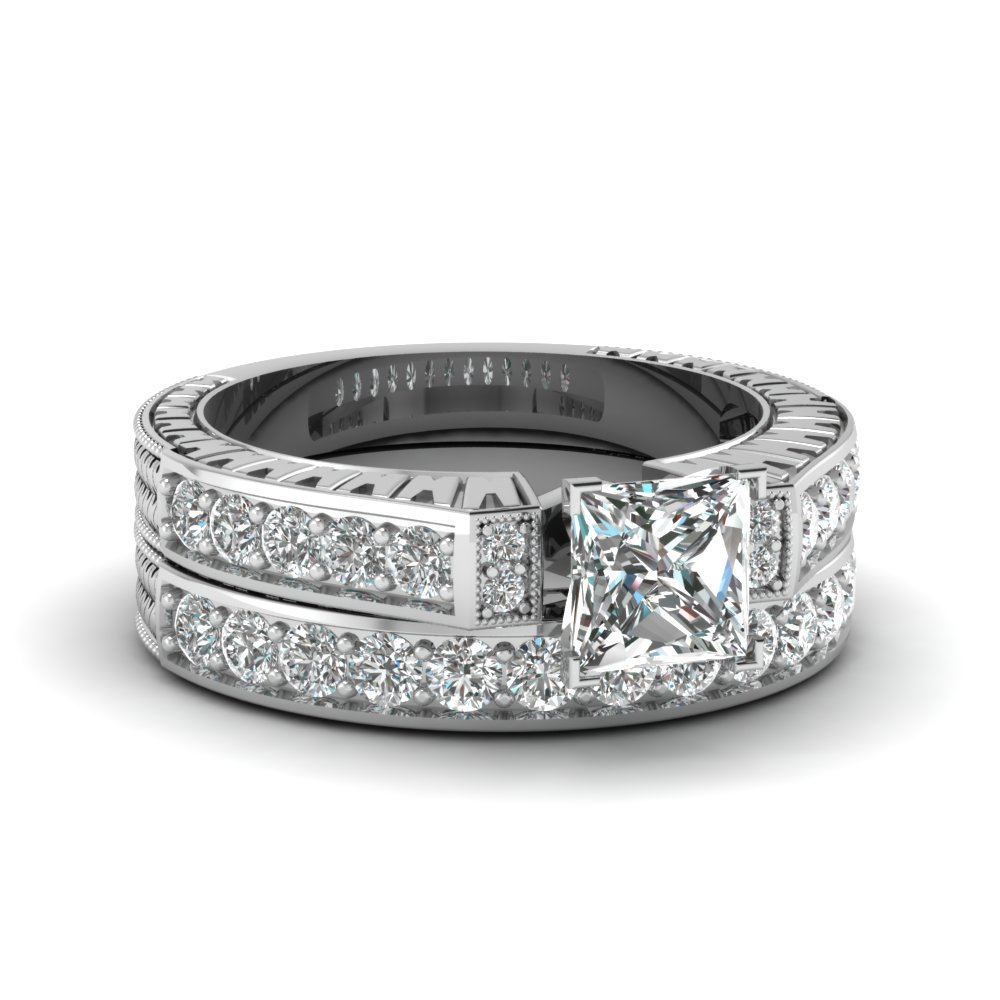 engraved design 1.50 ct princess cut diamond vintage wedding ring