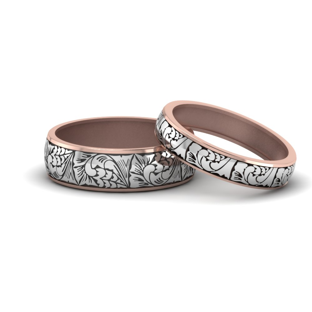 engraved matching rings for him and her in 14K rose gold FD8860B NL RG