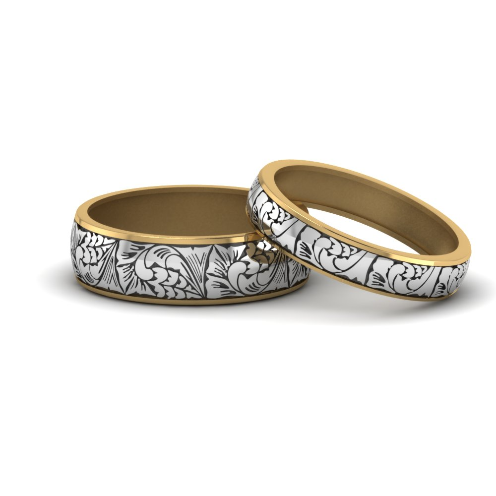 engraved matching rings for him and her in 14K yellow gold FD8860B NL YG