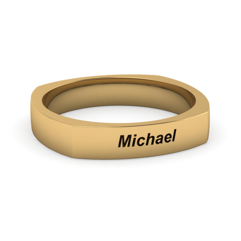 Engraved Mens Comfort Fit 4Mm Band Ring In 14K Yellow Gold