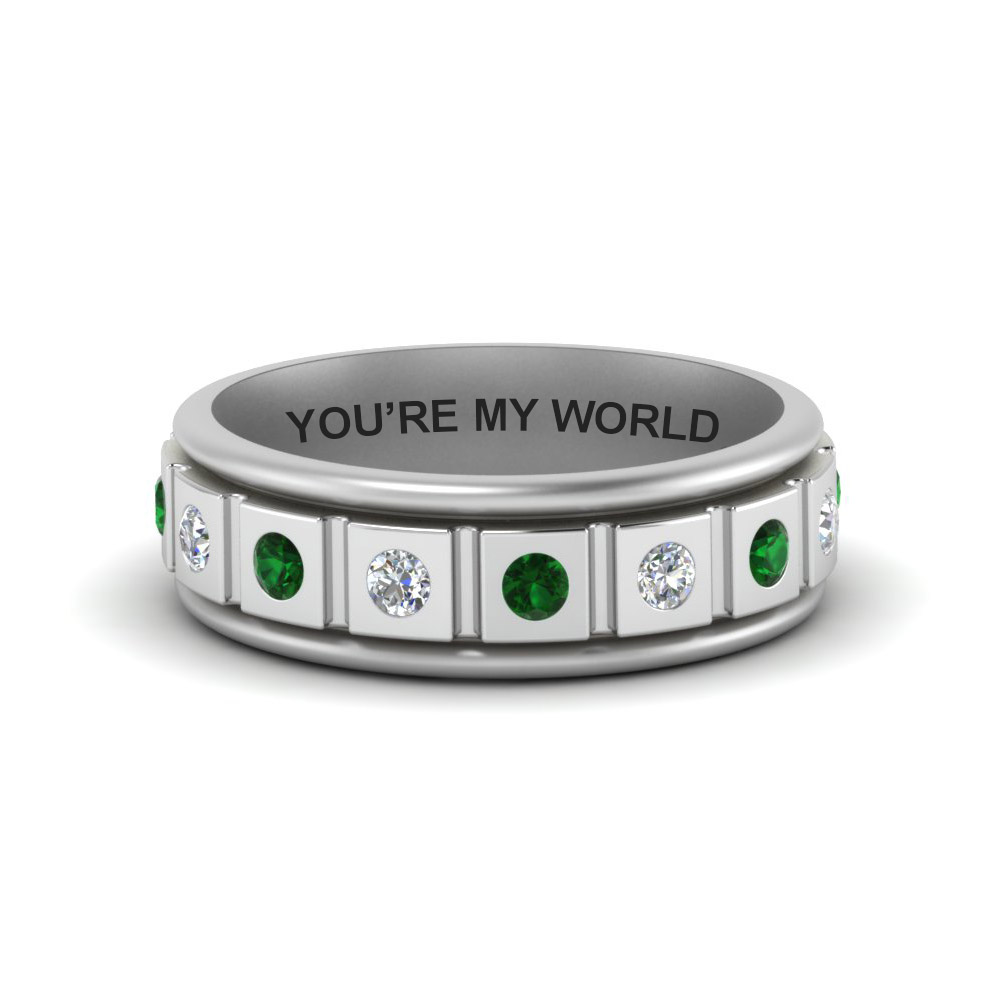 Engraved Emerald Mens Band