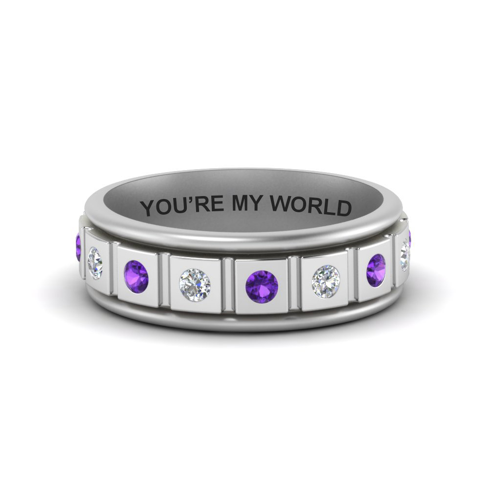 Engraved Purple Topaz Mens Band