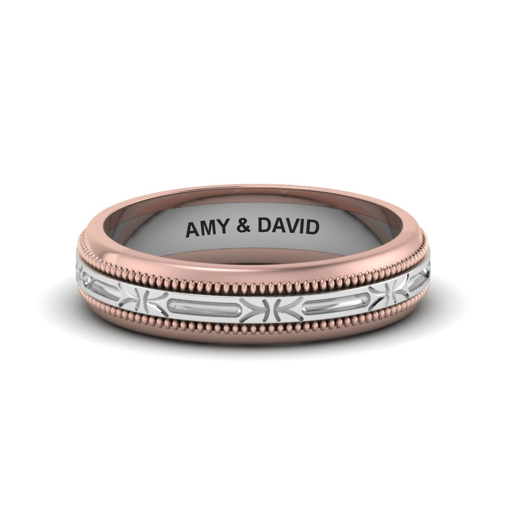 engraved milgrain 2 tone band in 14K rose gold FD652898B NL RG EG