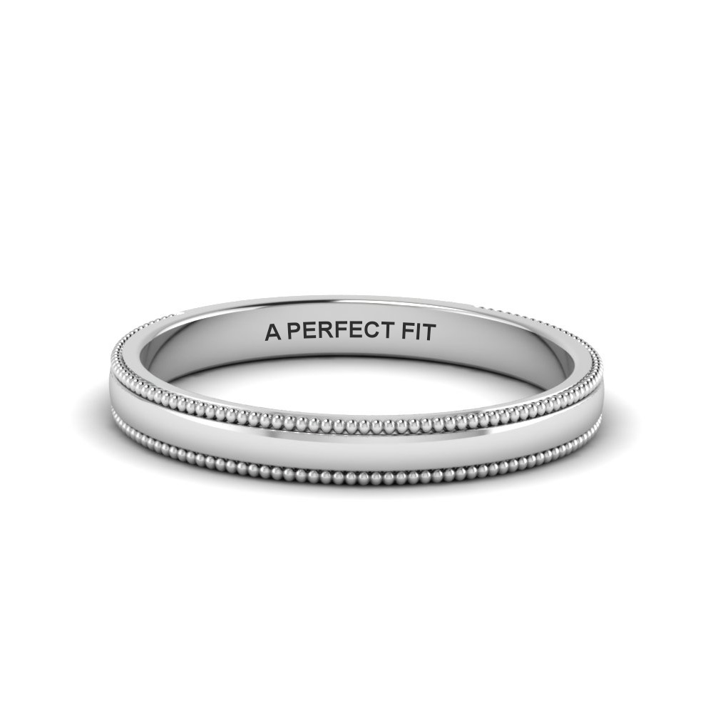 8358e98ab Classic Milgrain Thin Wedding Band In 14K White Gold | Fascinating ...