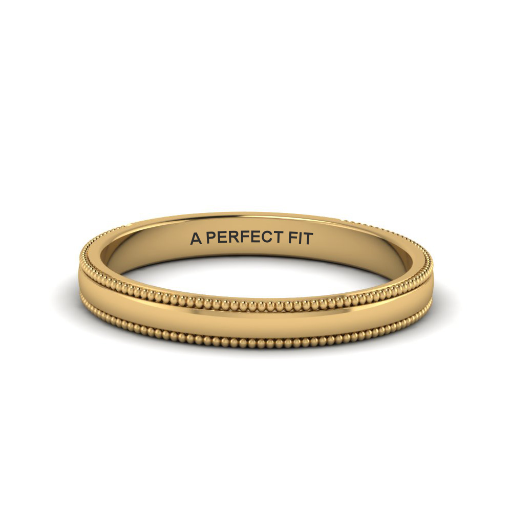 classic milgrain thin band in 14K yellow gold FD122990B NL YG