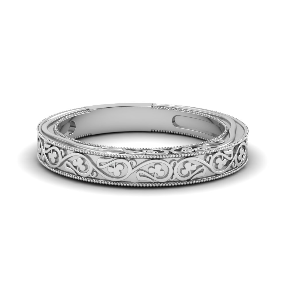 filigree vintage wedding band in 14k white gold | fascinating diamonds