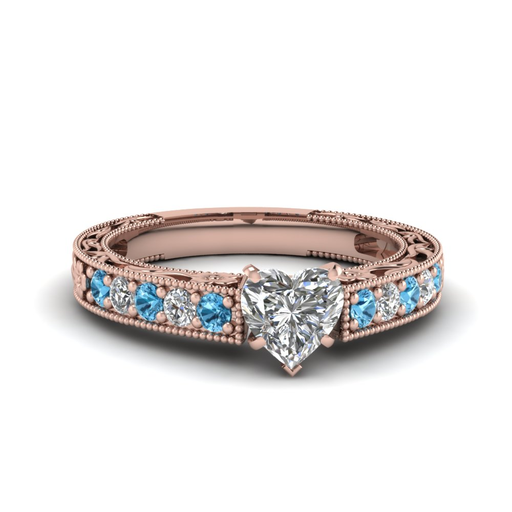 0.75 carat diamond pave heart shaped vintage engagement ring with blue topaz in FDENS3506HTRGICBLTO NL RG