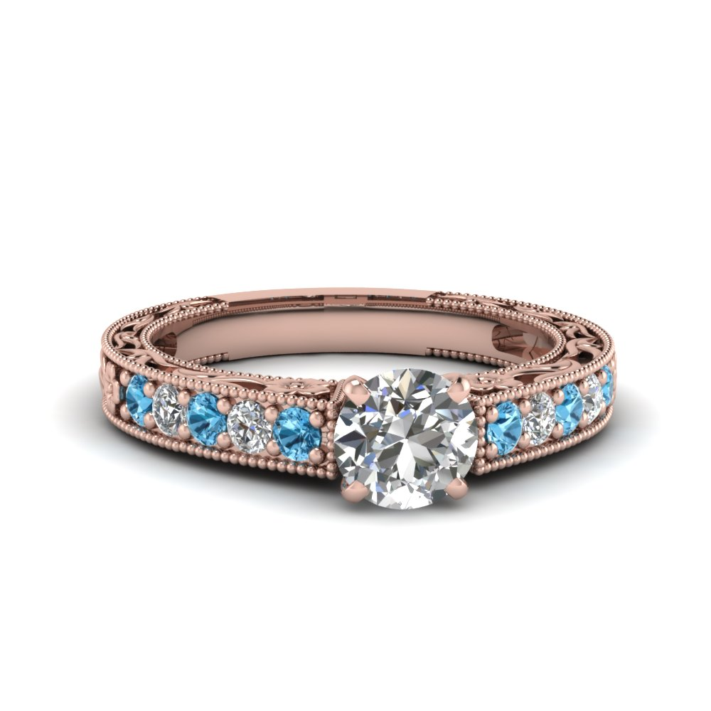 0.75 carat diamond pave round cut vintage engagement ring with blue topaz in FDENS3506RORGICBLTO NL RG