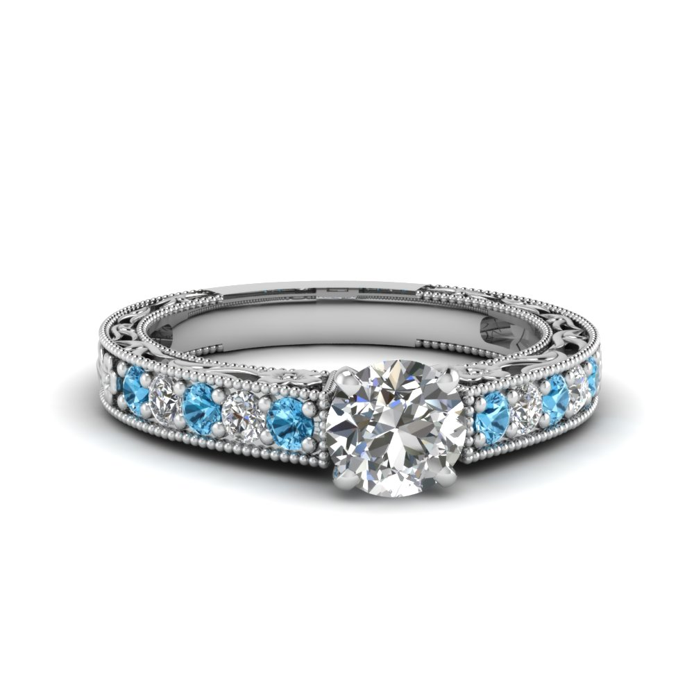 0.75 carat diamond pave round cut vintage engagement ring with blue topaz in FDENS3506RORGICBLTO NL WG