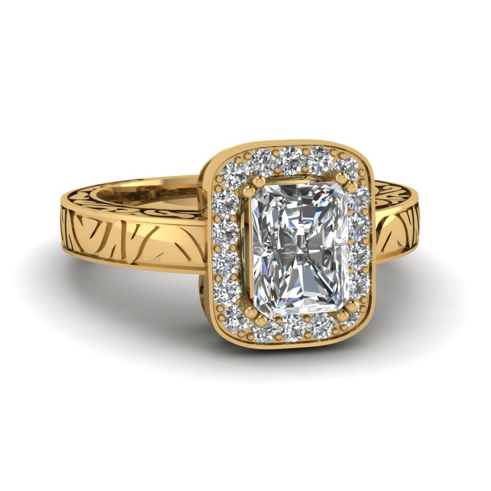Gold Radiant Halo Engagement Rings