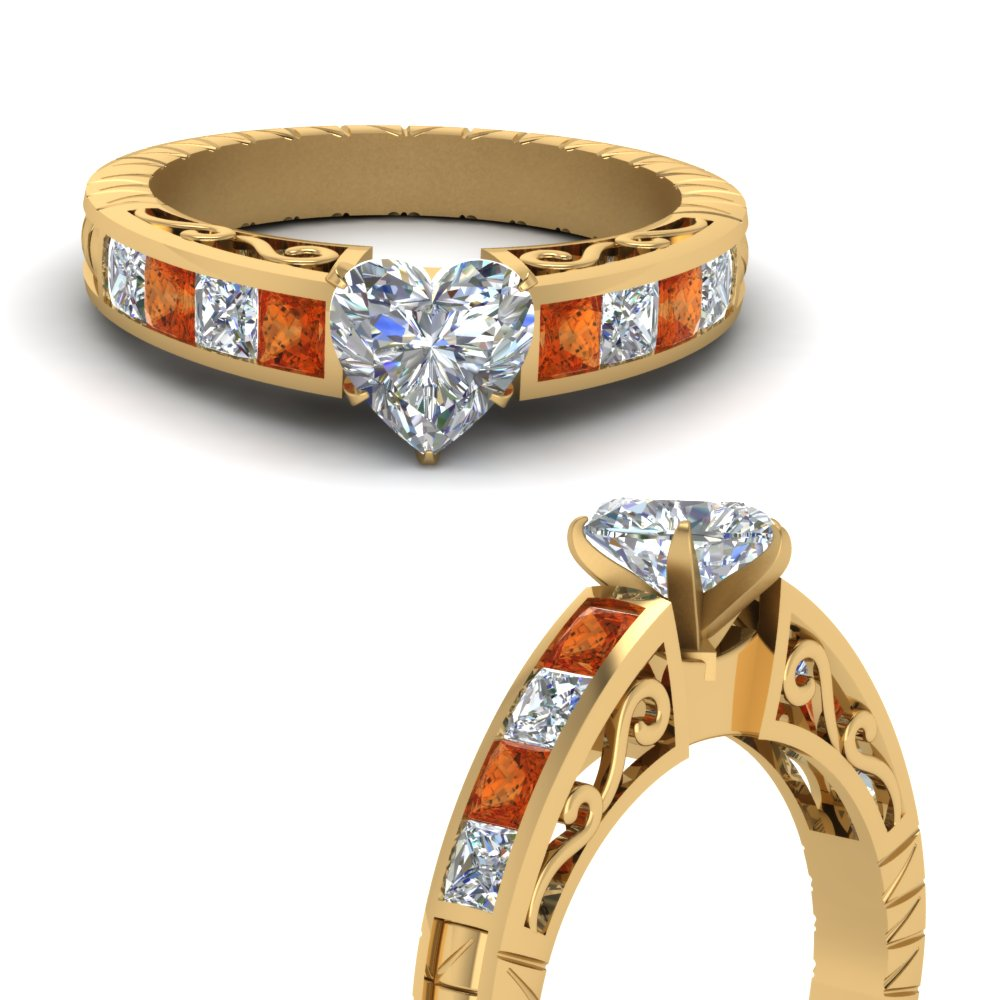 engraved shank 1.5 carat heart shaped diamond engagement ring with orange sapphire in FDENR2640HTRGSAORANGLE3 NL YG.jpg