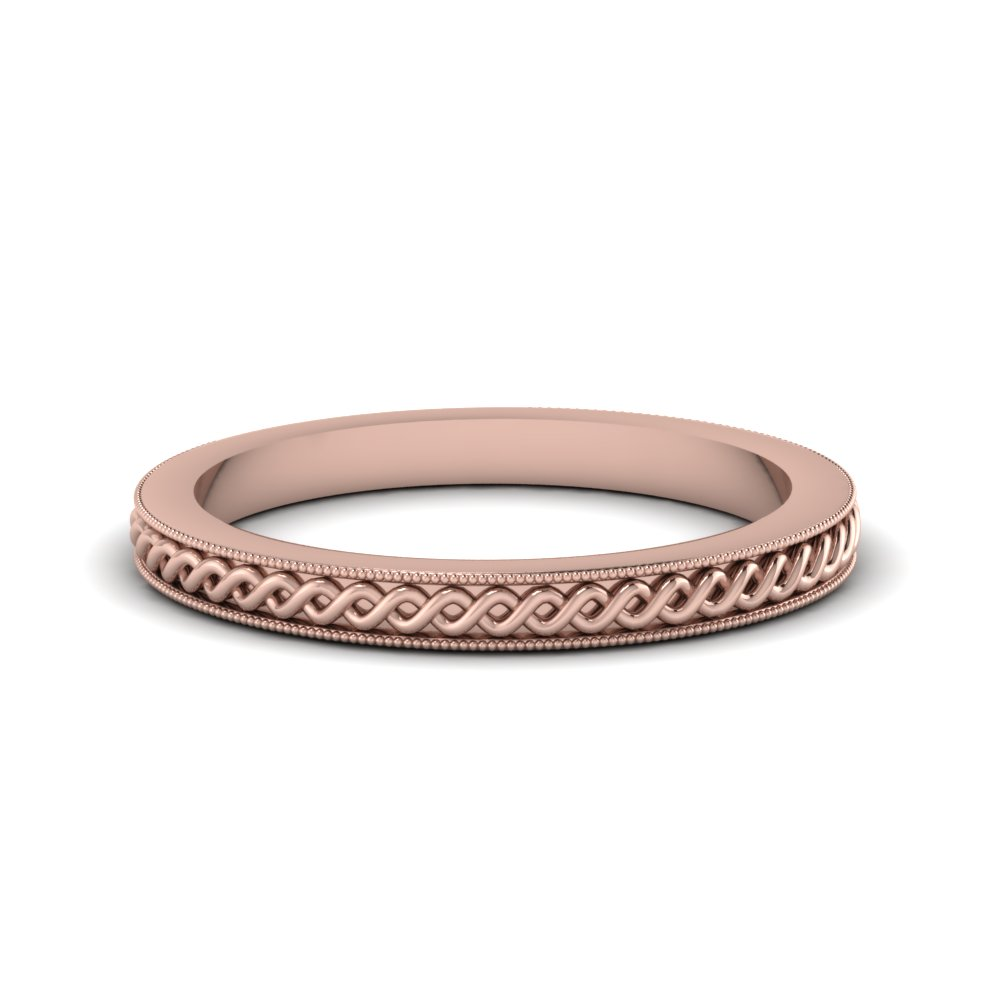 Milgrain Rope Design Wedding Band