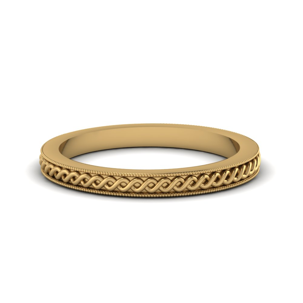 Milgrain Twisted Rope Wedding Band