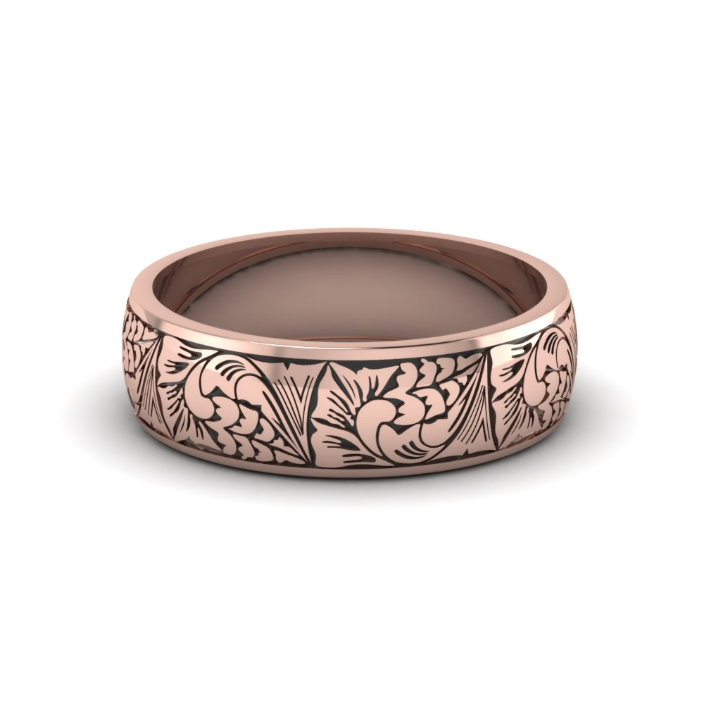 Engraved 14k Rose Gold Mens Wedding Band