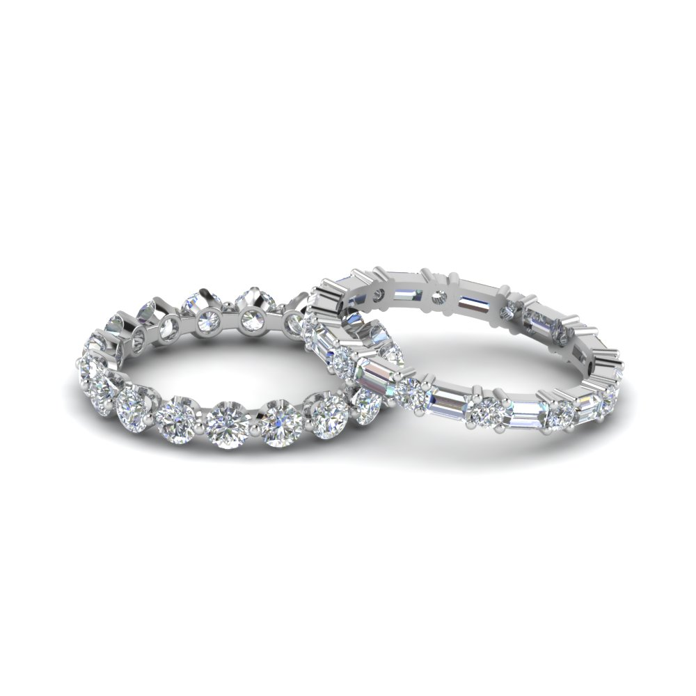 White  Gold Baguette Diamond Eternity Stackable Bands