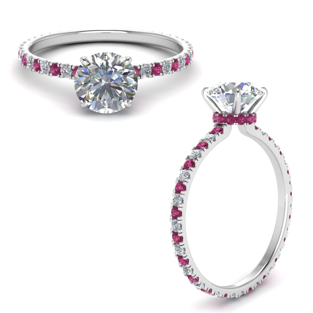 eternity-hidden-halo-round-cut-moissanite-engagement-ring-with-pink-sapphire-in-FD9168RORGSADRPIANGLE3-NL-WG
