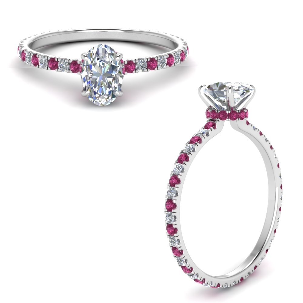 eternity-hidden-halo-oval-shaped-moissanite-engagement-ring-with-pink-sapphire-in-FD9168OVRGSADRPIANGLE3-NL-WG
