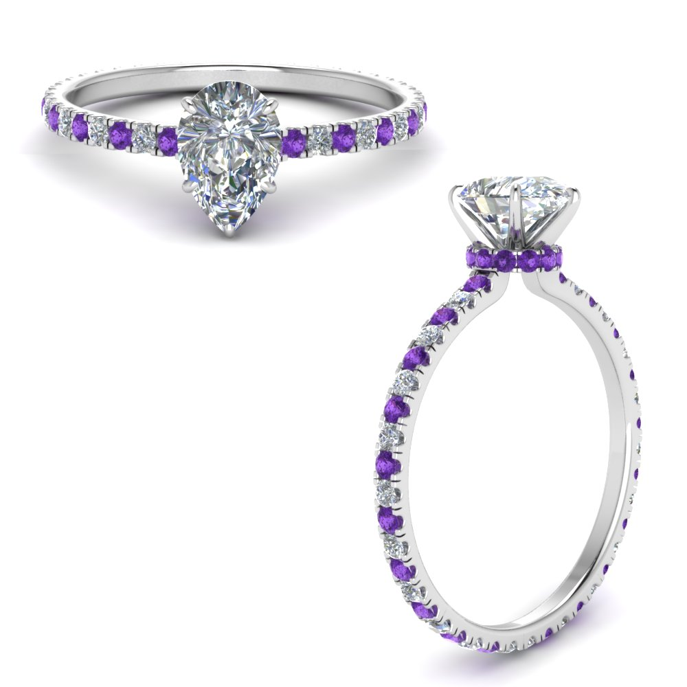 eternity-hidden-halo-pear-shaped-moissanite-engagement-ring-with-purple-topaz-in-FD9168PERGVITOANGLE3-NL-WG
