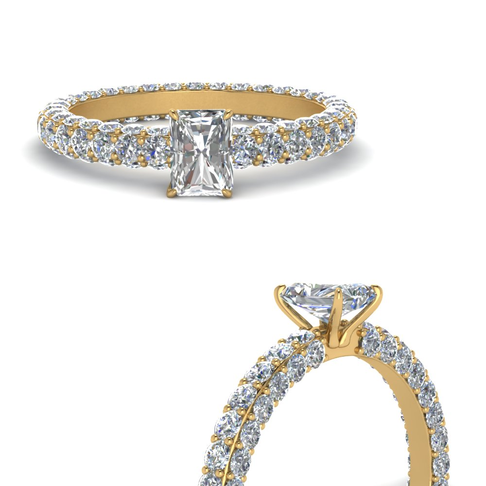 Gold Radiant Cut Side Stone Rings
