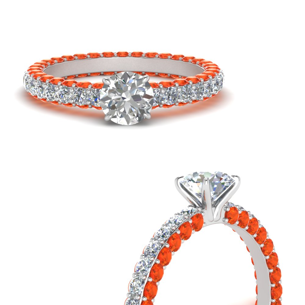 Orange Topaz Eternity Engagement Ring