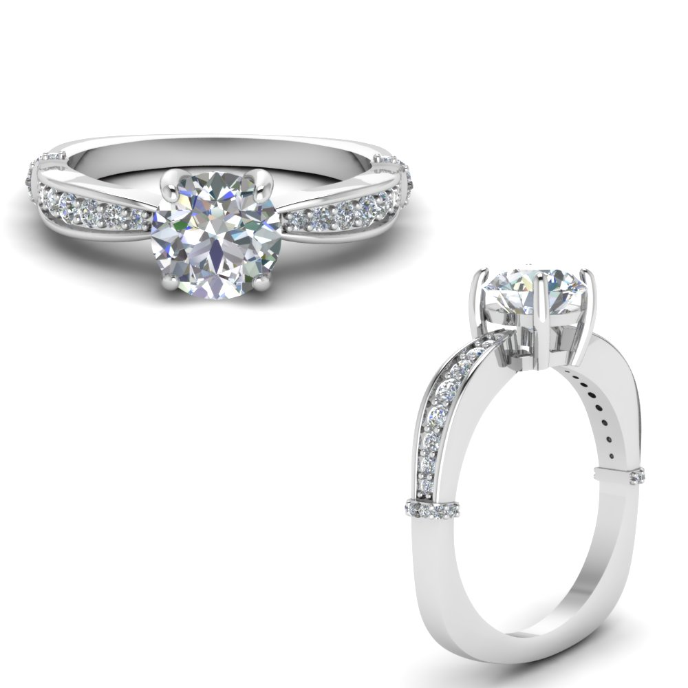 euro shank pave diamond engagement ring in FD67852RORANGLE3 NL WG