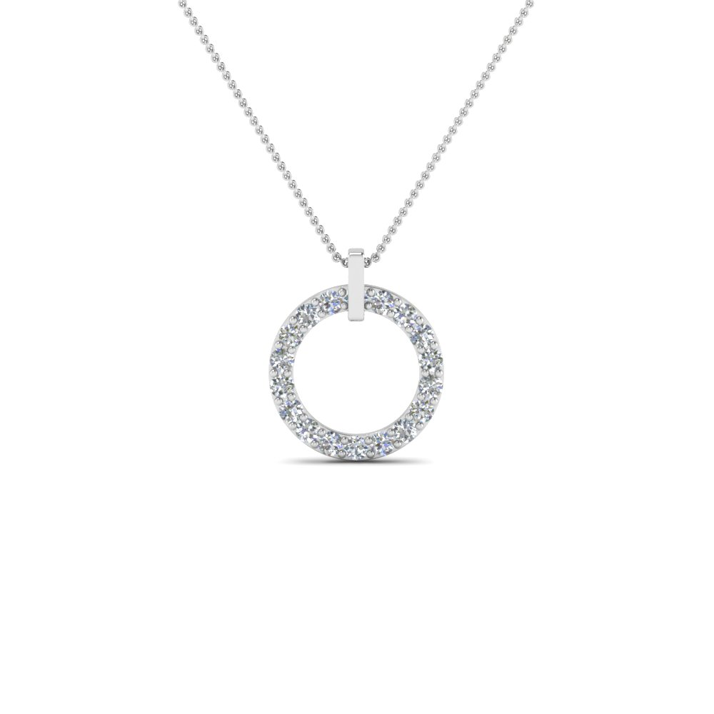 Fancy Circular Diamond Necklace Pendant For Women In 14K White ...
