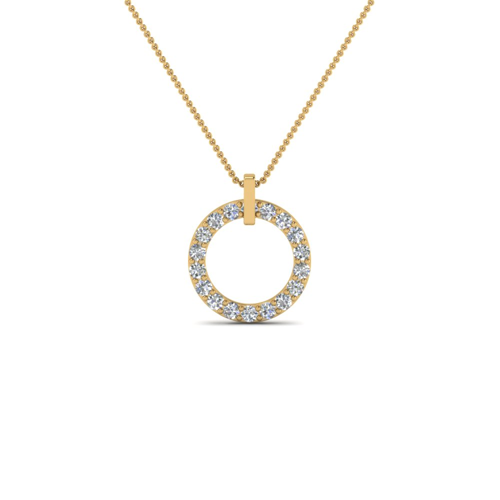 fancy circular diamond necklace pendant for women in 14K yellow gold FDPD8090 NL YG