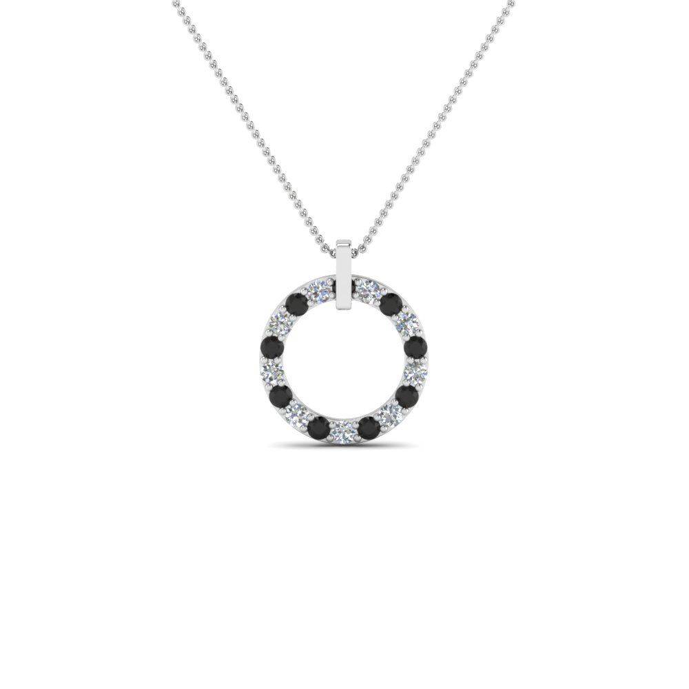Fancy Circular Necklace Pendant For Women With Black Diamond In ...
