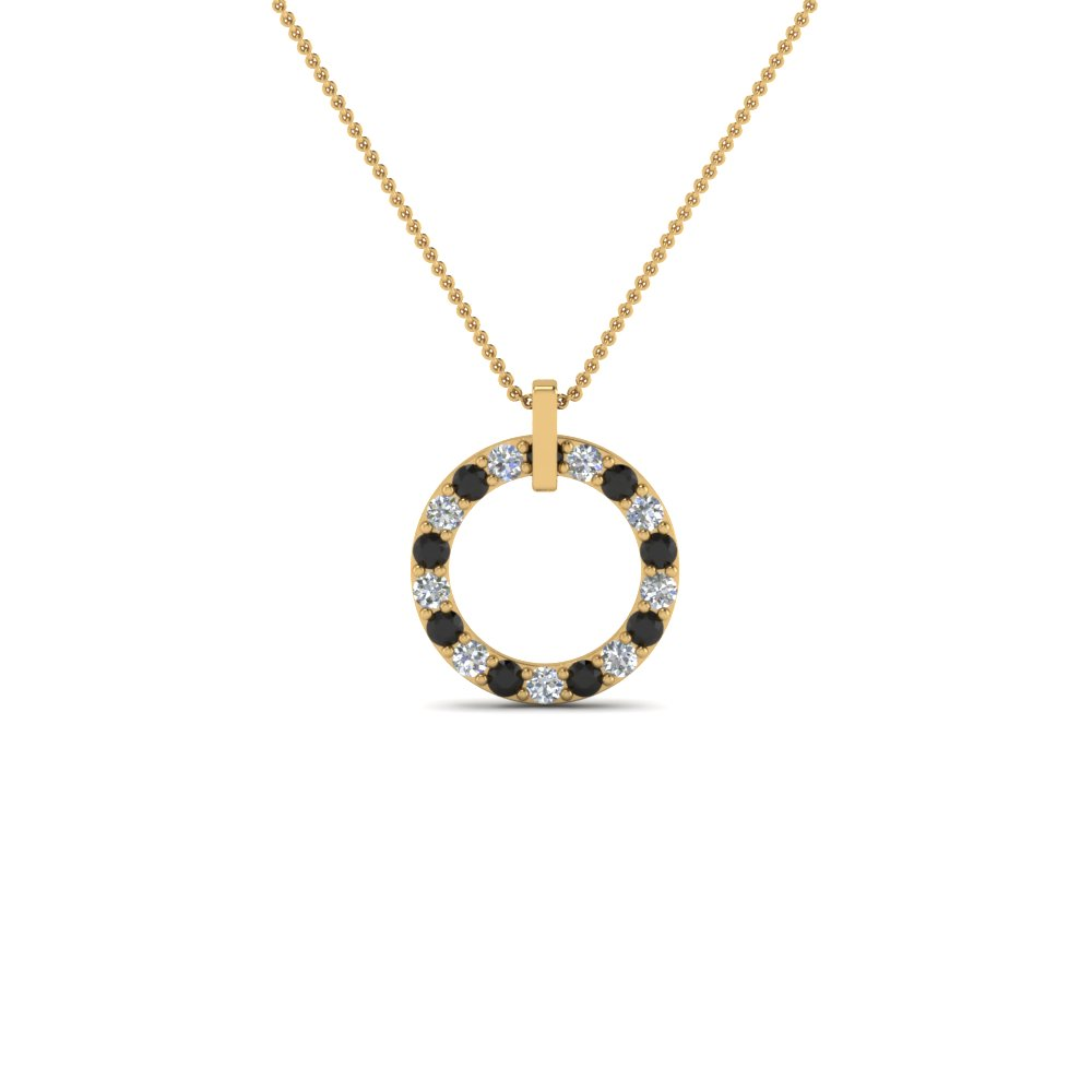 fancy circular necklace pendant for women with black diamond in 18K yellow gold FDPD8090GBLACK NL YG