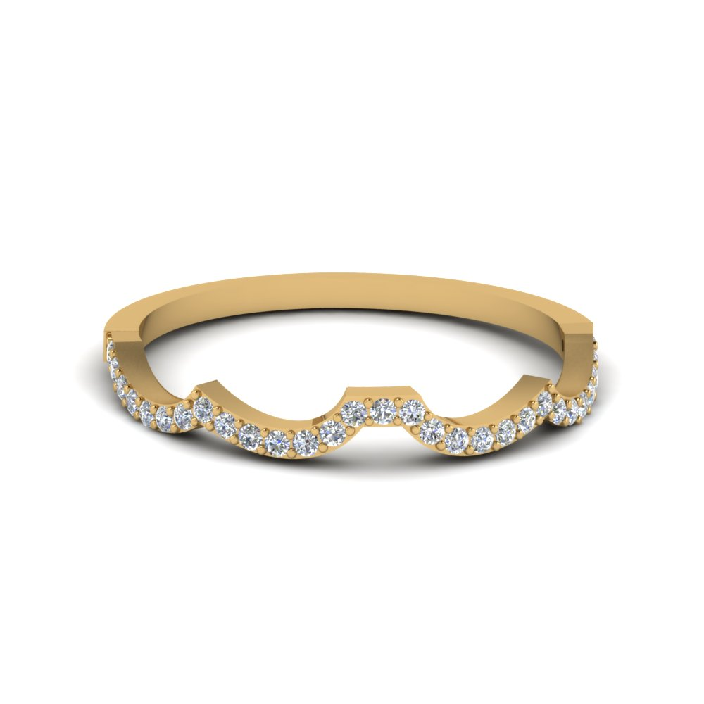 Fancy Curve Diamond Wedding Women Band In Yellow Gold