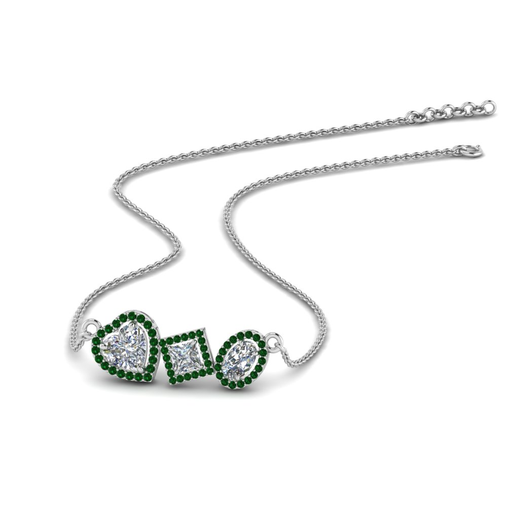 fancy diamond halo necklace with emerald in FDPD8864GEMGR NL WG