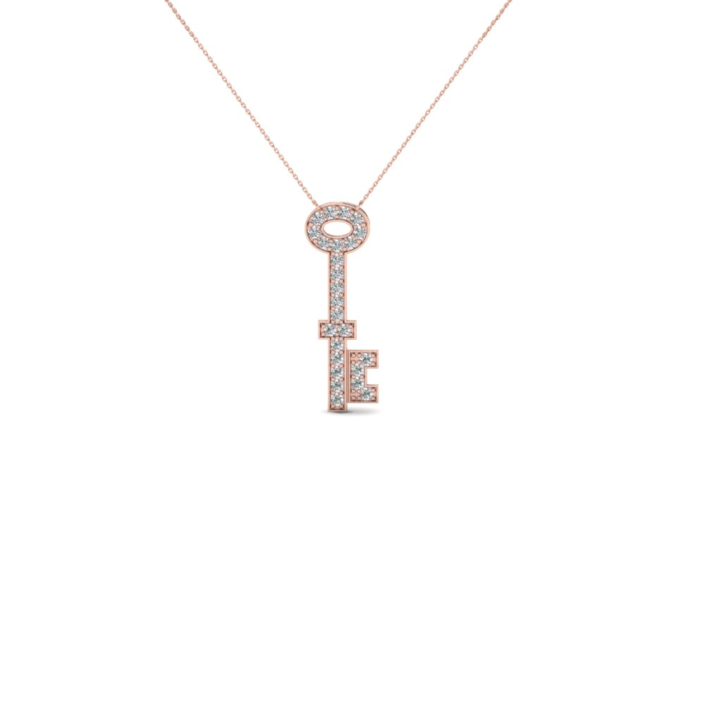 Fancy diamond key pendant necklace in 18k rose gold fascinating fancy diamond key pendant necklace in 18k rose gold fdpd696 nl rg gs aloadofball Images