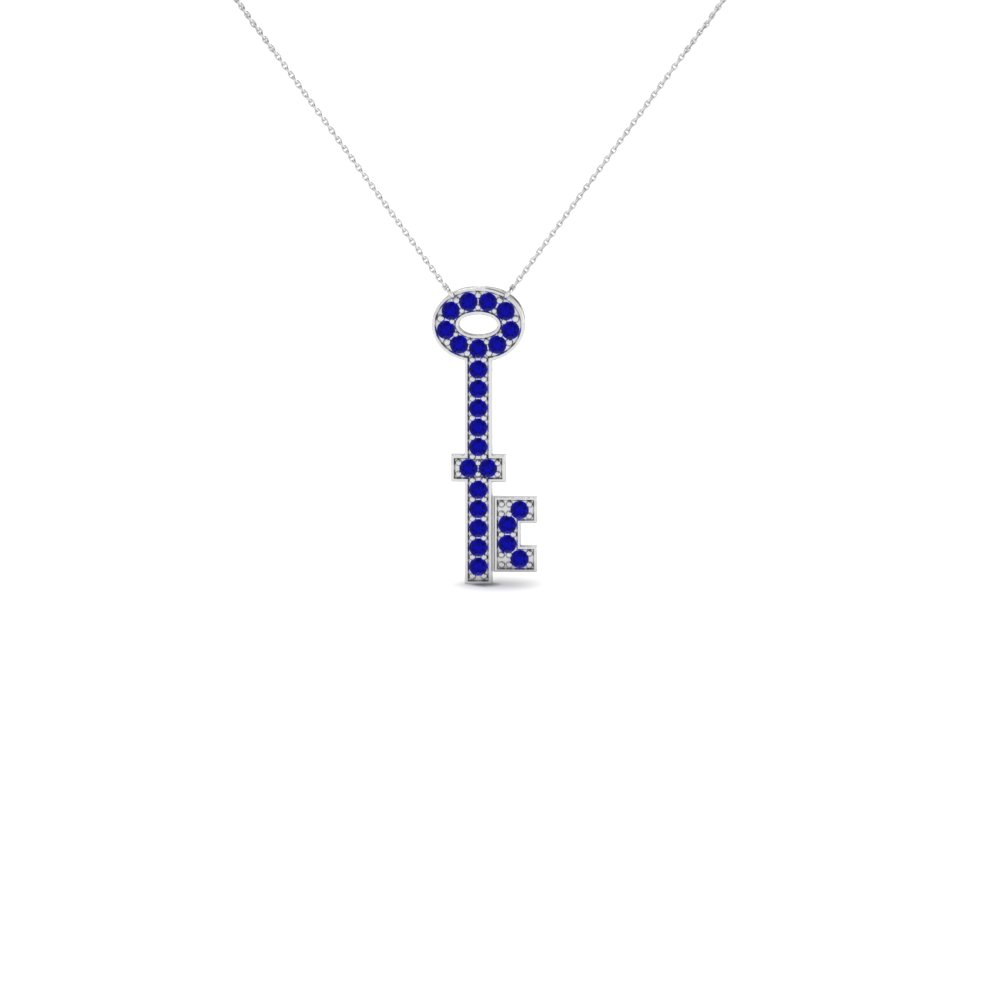 Fancy key pendant necklace with blue sapphire in 14k white gold fancy key pendant necklace with blue sapphire in 14k white gold fdpd696gsabl nl wg gs aloadofball