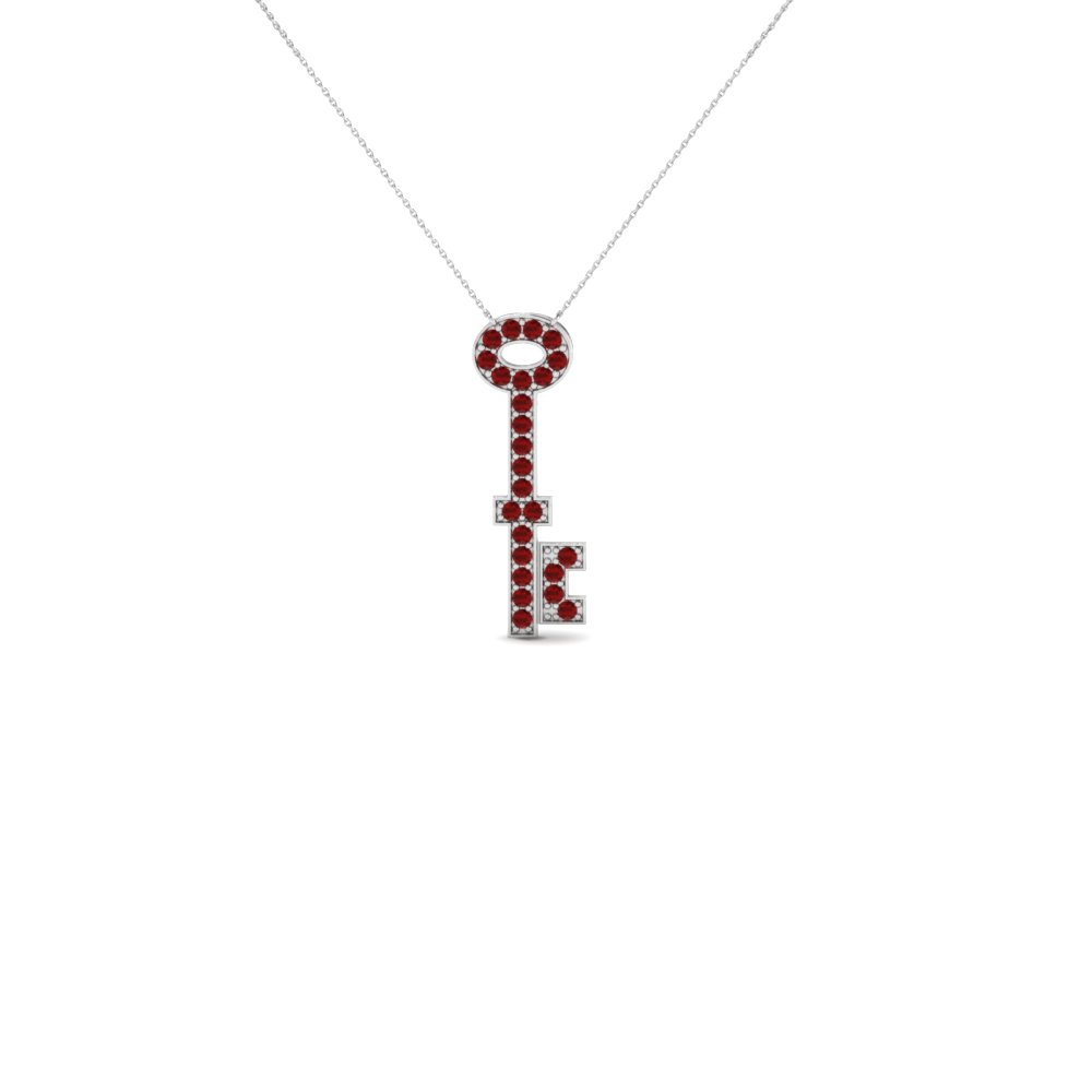 Ruby Key Pendant Necklace
