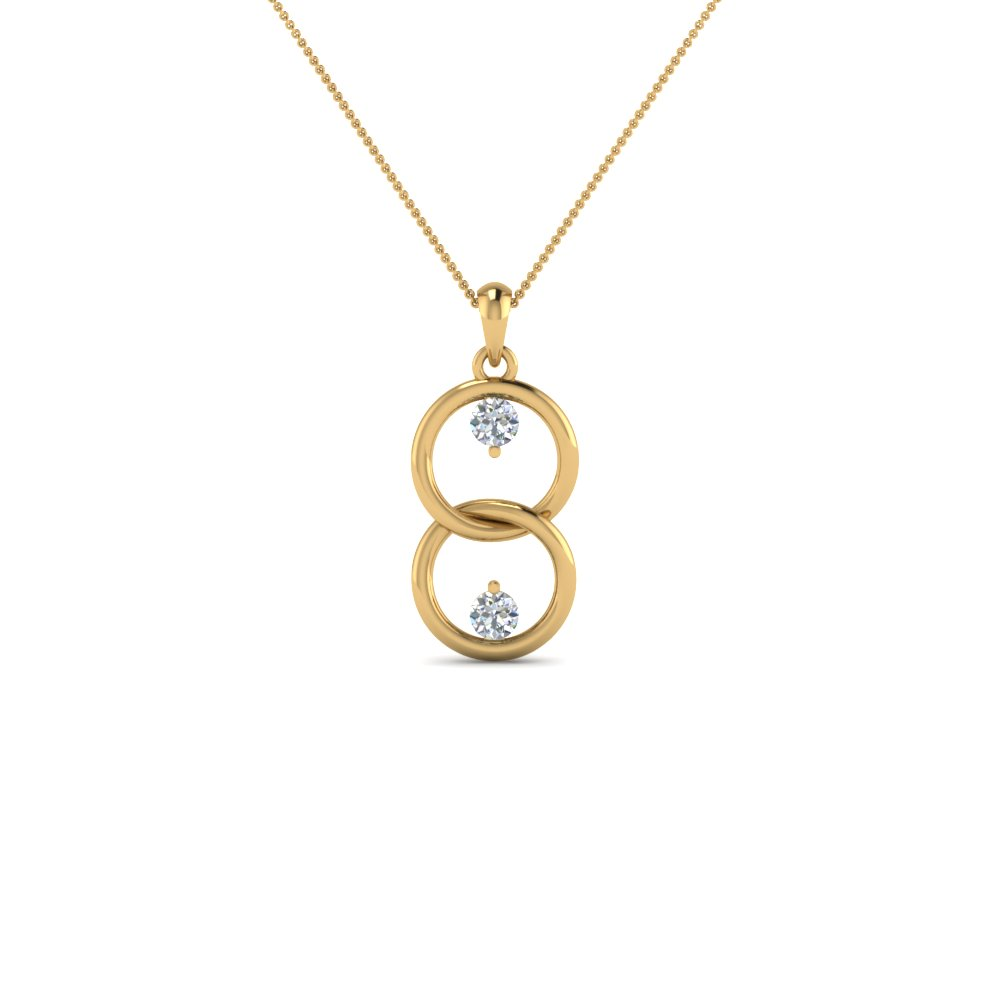 fancy open circle drop diamond necklace pendant in 14K yellow gold FDPD8095 NL YG
