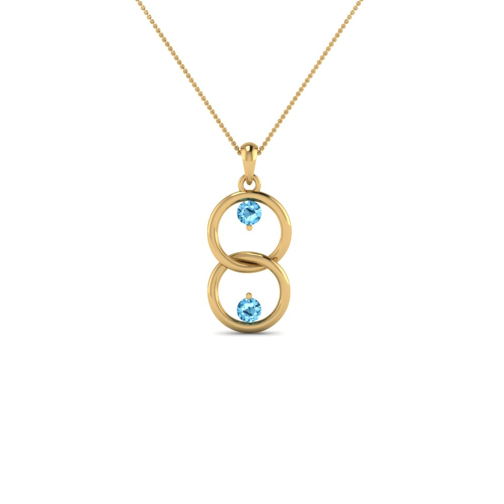 fancy open circle drop blue topaz necklace pendant in 14K yellow gold FDPD8095GICBLTO NL YG