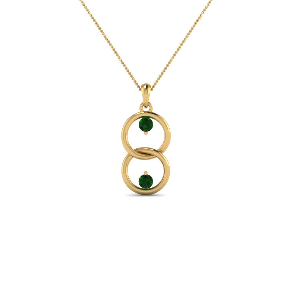 fancy open circle drop emerald necklace pendant in 18K yellow gold FDPD8095GEMGR NL YG