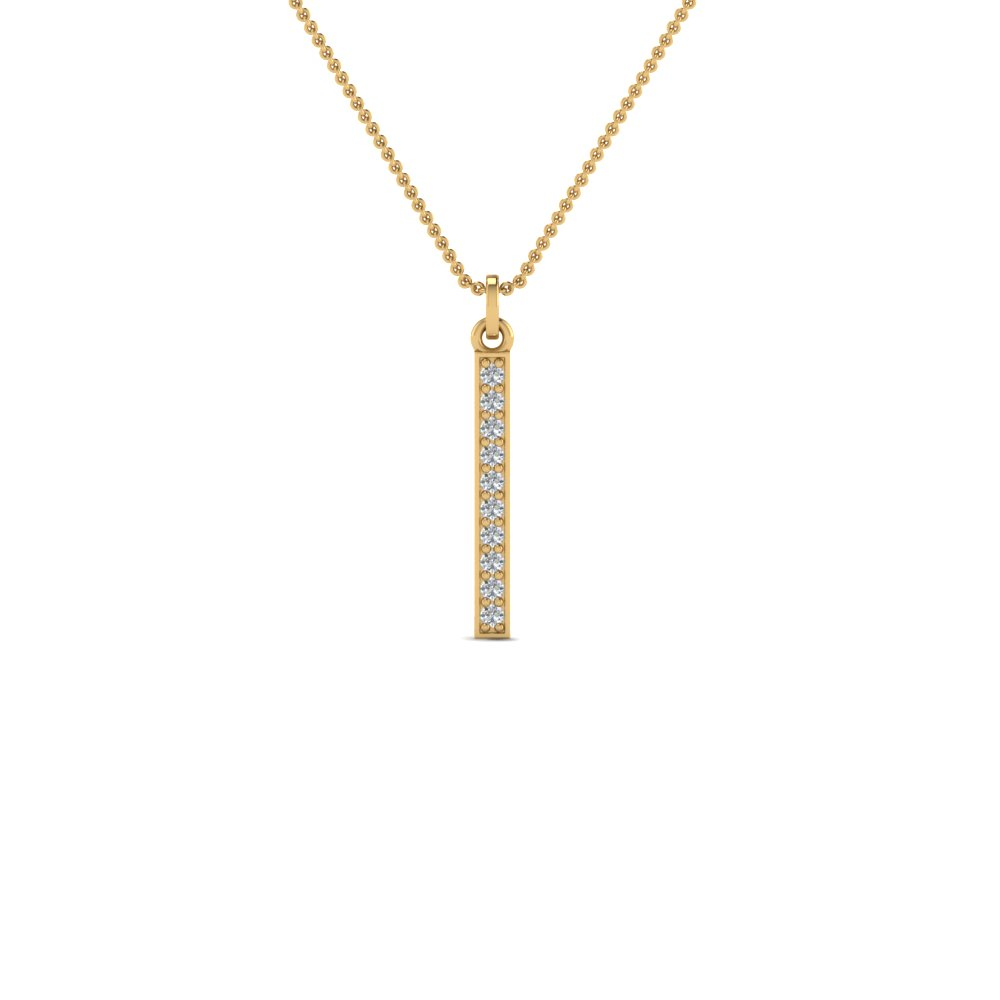 Pave Straight Bar Diamond Necklace