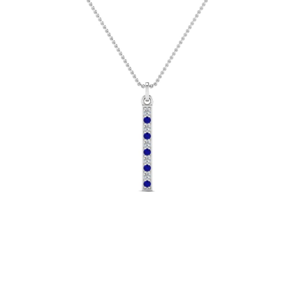 Fancy pave straight bar diamond necklace pendant with blue sapphire fancy pave straight bar diamond necklace pendant with blue sapphire in 14k white gold fdpd8094gsabl nl aloadofball